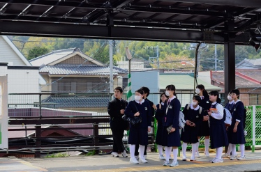 Japanese students in uniforms