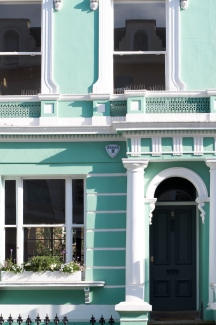 london spring pastel green house